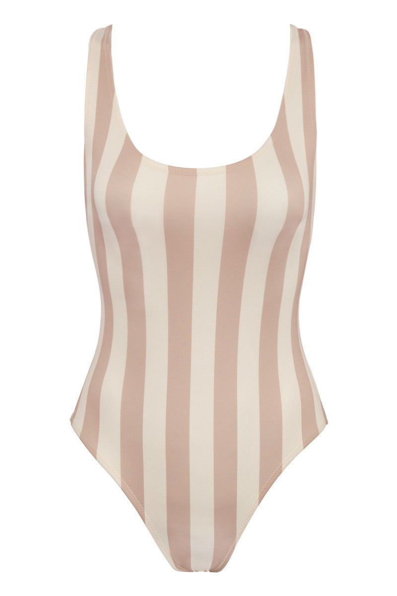 SOLID & STRIPED The Anne-Marie One Piece Swimsuit - Nude & Cream Stripe Print One Piece | Nude & Cream Stripe Print| Solid & Striped The Anne-Marie One Piece Swimsuit - Nude & Cream Stripe Print  Scoop neckline Thick shoulder straps  Low scoop back Moderate coverage  Italian fabric Front View