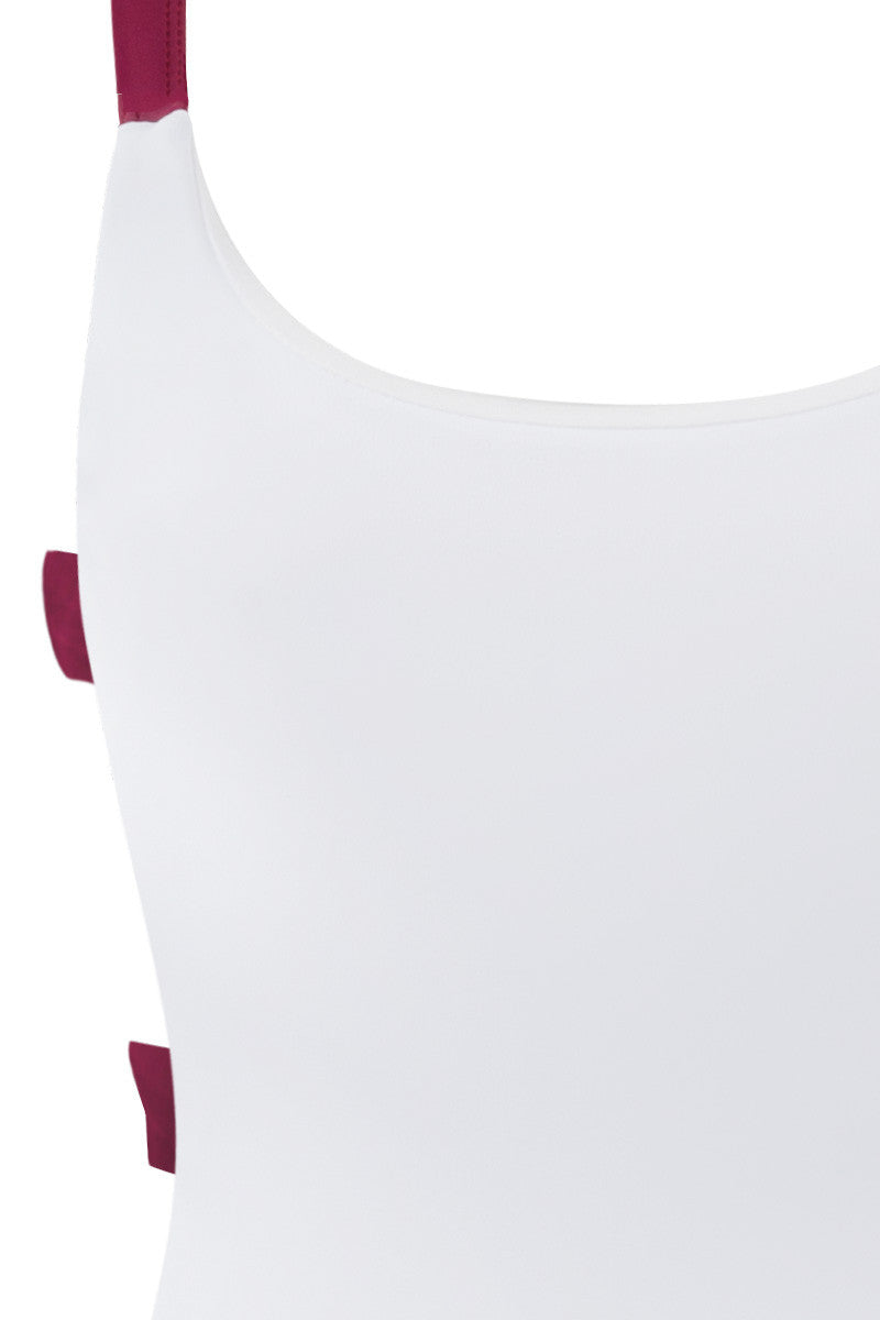 ZIGILANE Shadey Color Block Strappy Back One Piece Swimsuit - White & Merlot Red One Piece | White & Merlot Red|  Zigilane Shadey Color Block Strappy Back One Piece Swimsuit - White & Merlot Red Scoop neckline Strappy back Thick, lined fabric High cut leg Cheeky coverage No padding 72% Microfiber Nylon, 28% Spandex Front View