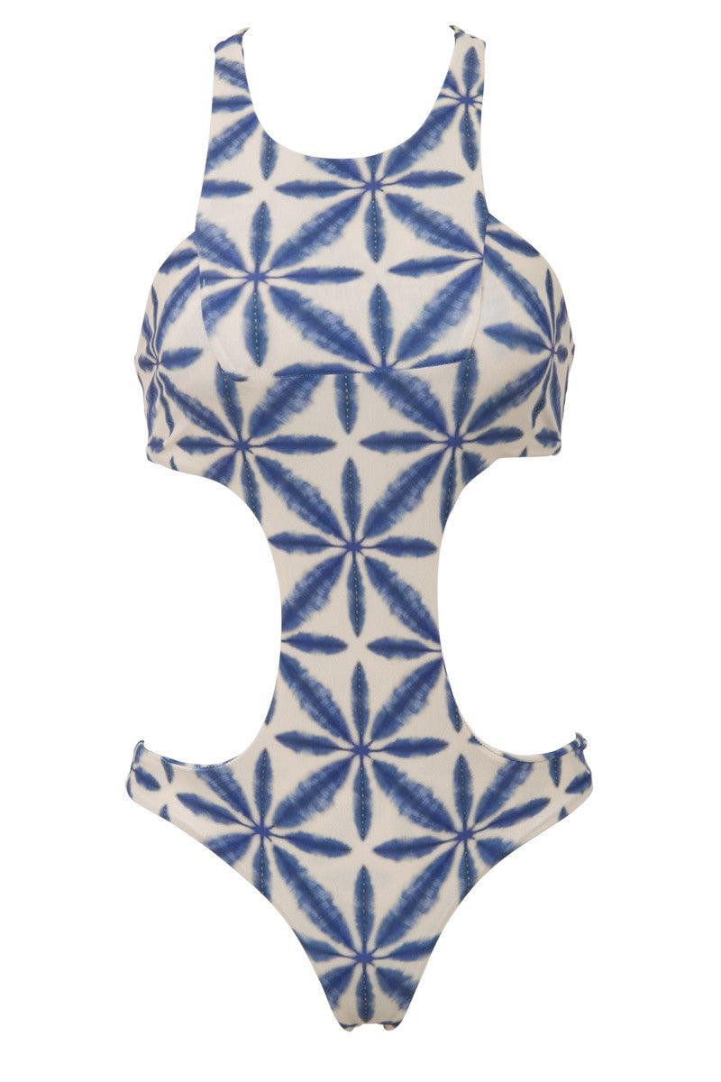 STONE FOX SWIM La Jolla Sporty Monokini One Piece Swimsuit - Ocean Blue Batik Print One Piece | Ocean Blue Batik Print| La Jolla Sporty Monokini One Piece Swimsuit - Ocean Blue Batik Print