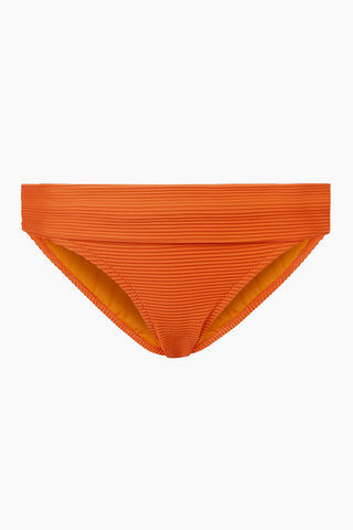 HEIDI KLEIN Fold Over Bikini Bottom - Orange Bikini Bottom | Orange| Heidi Klein Fold Over Bikini Bottom - Orange. Features:  The bottom is cut to be Mid Rise, Mid Coverage. Fully elasticated along legs for a snug fit and to help stay in place when wearer is swimming. Elastic is fully enclosed for a soft, comfortable finish. Fold over detail is stitched in place at the side seam to ensure the correct style shape is maintained when worn – won't need to be adjusted continuously. Front View