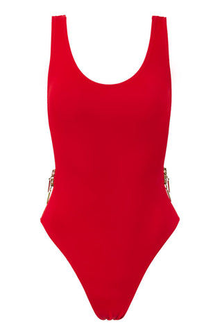 OYE SWIMWEAR Zissou Zip Up One Piece Swimsuit - Red One Piece | Red|Oye Swimwear Zissou Zip Up One Piece Swimsuit - Red. Features: Delicate waterproof zippers above each leg add OYE's signature twist to this classic one piece swimsuit.