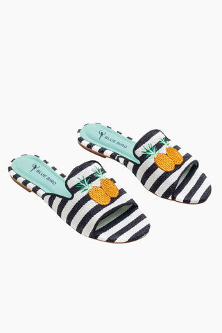 BLUE BIRD Pineapple Shower Flats - Black And White Shoes |  Black And White| Blue Bird Pineapple Shower Flats - Black And White. Features:  Playful pineapple linen flats Produced in Brazil with Italian assembly process Leather lining  Guarantee the maximum comfort of the insole 100% leather sole Heel- 0.27 inch The Blue Bird's are produced with natural leather, from the lining to the sole, guaranteeing its durability. Front View