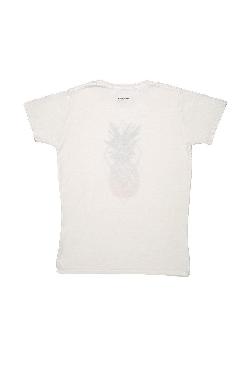 Bikini.com Pineapple T-Shirt (Men's) Mens Top   Pineapple  Bikini.com Pineapple T-Shirt (Men's).  Flat Lay View. 100% Bamboo. Ultra Soft. Pineapple pop art on center front.