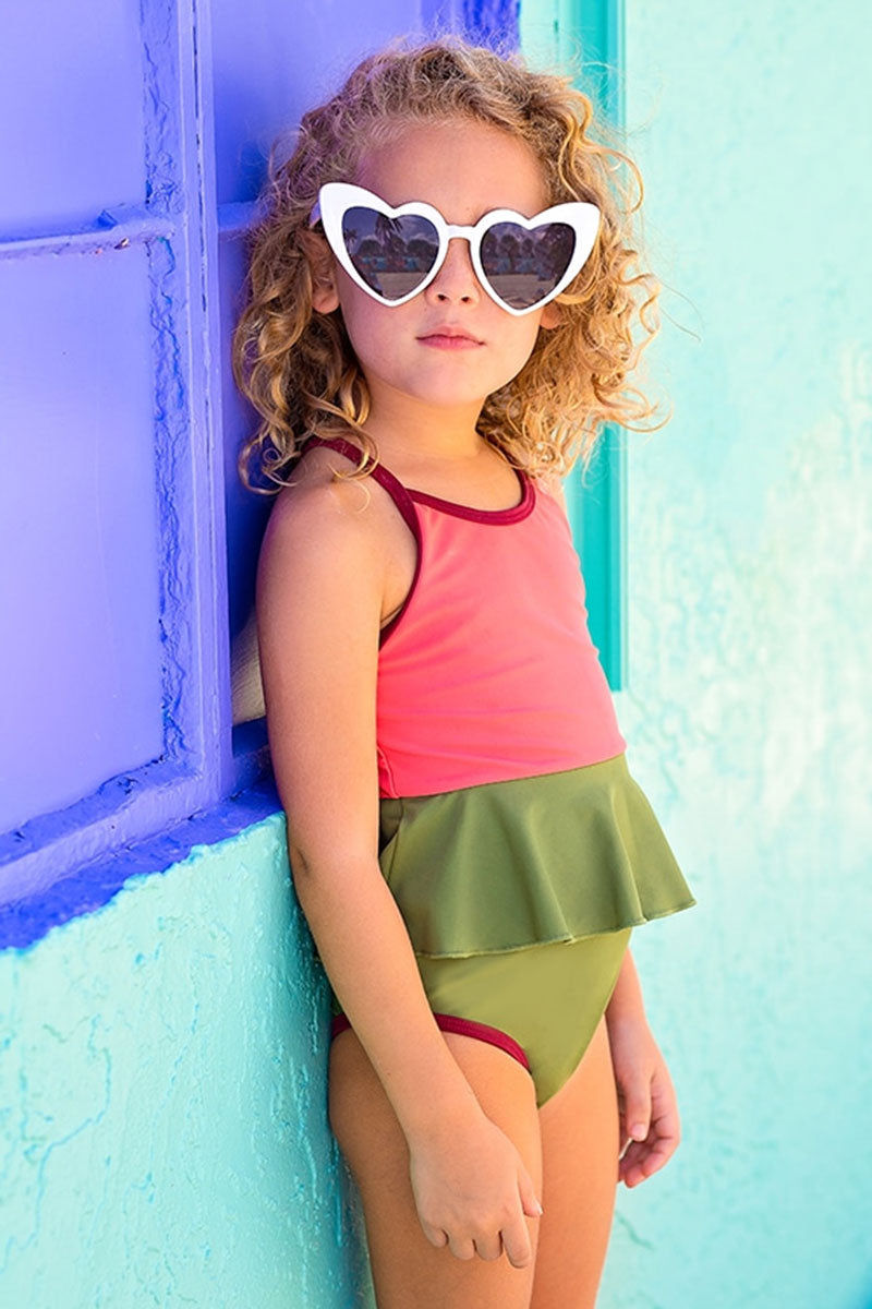 MOTT50 KIDS Mini Federica Ruffle Skirt One Piece Swimsuit (Kids) - Sugar Coral Pink Color Block Kids One Piece | Sugar Coral Pink Color Block| Mott50 Kids Mini Federica Ruffle Skirt One Piece Swimsuit (Kids) - Sugar Coral Pink Color Block Kids one piece Ruffle skirt detail Front View