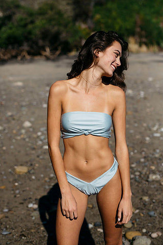 SLATE SWIM Steele Bottom - Powder Bikini Bottom | Powder| Slate Swim Steele Top Back View Strapless Bandeau Bikini Top Front Knot Pull-Over Style
