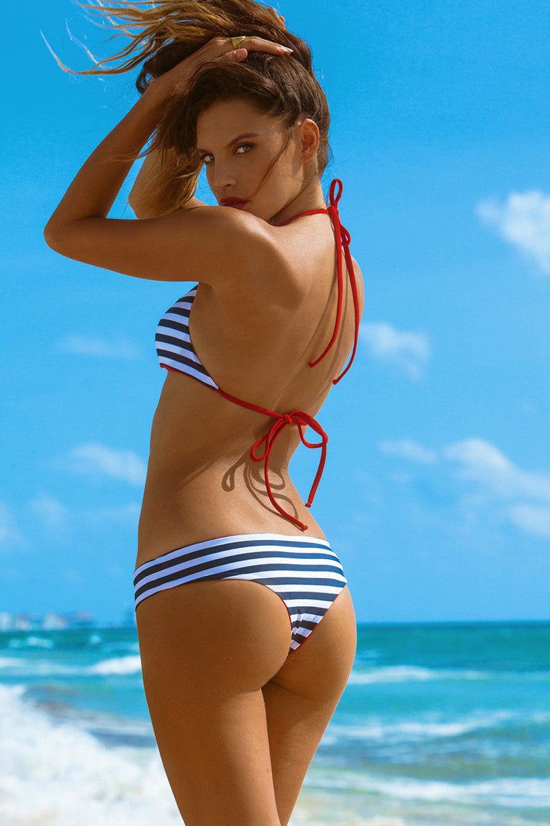 KHONGBOON Prato Reversible Bottom Bikini Bottom | Blue and White/Red| Khongboon Prato Bottom