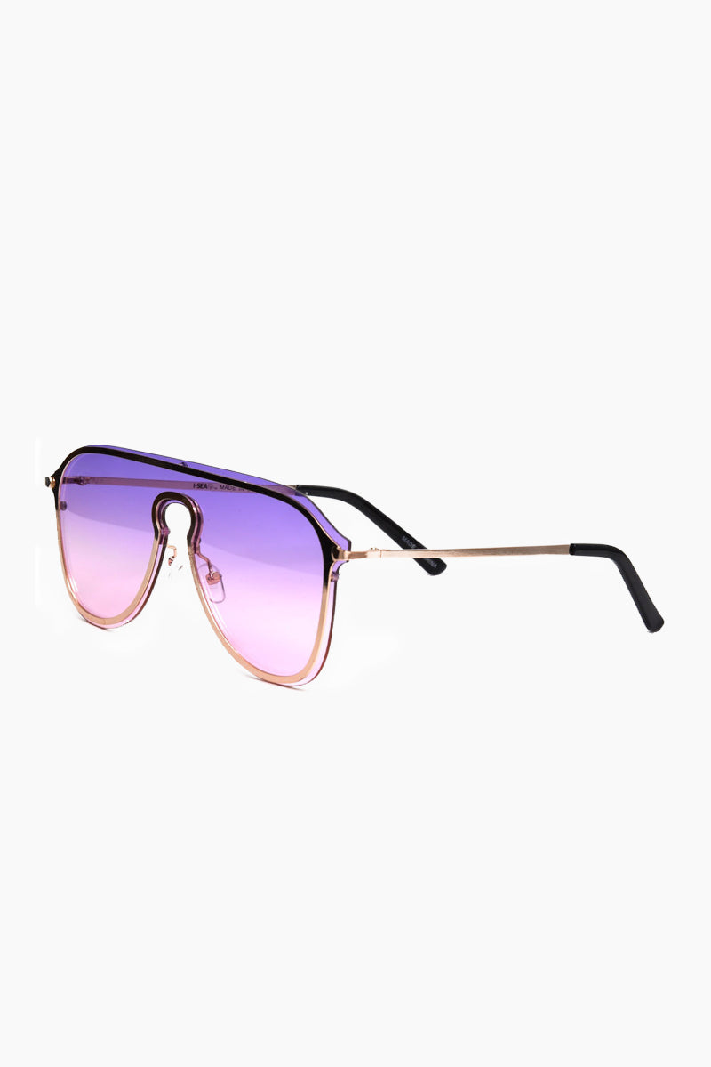 I-SEA Prismn Sunglasses - Pink/Purple Sunglasses   Pink/Purple  I-Sea Prismn Sunglasses - Pink/Purple Oversized Aviator Sunglasses Frame Color: Pink Lens Color: Purple 100% UV / UVB Protection Side View