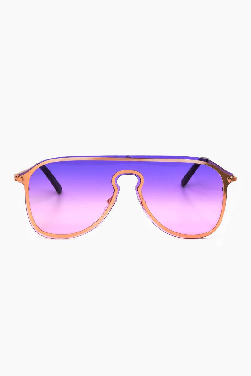 I-SEA Prism Sunglasses - Pink/Purple Sunglasses | Pink/Purple| I-Sea Prismn Sunglasses - Pink/Purple Oversized Aviator Sunglasses Frame Color: Pink Lens Color: Purple 100% UV / UVB Protection Front View