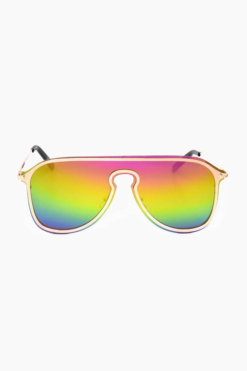 I-SEA Prismn Sunglasses - Rainbow Mirror Sunglasses | Rainbow Mirror| I-Sea Prismn Sunglasses - Rainbow Mirror Oversized Aviator Sunglasses Frame Color: Gold Lens Color: Rainbow Mirror 100% UV / UVB Protection Front View