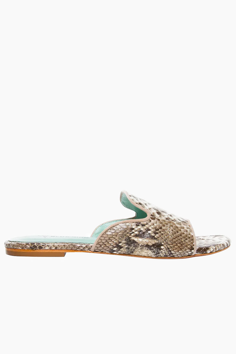 BLUE BIRD Python Shower Flats - Python White Sandals | Python White| Blue Bird Python Shower Flats - Python White Elegant and sophisticated Python flats Produced in Brazil with Italian assembly process Leather lining  Guarantee the maximum comfort of the insole 100% leather sole Heel- 0.27 inch The Blue Bird's are produced with natural leather, from the lining to the sole, guaranteeing its durability. Side View