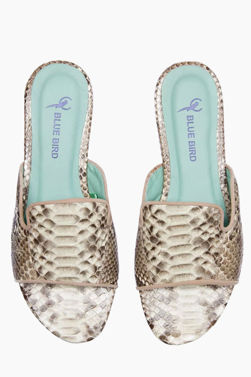 BLUE BIRD Python Shower Flats - Python White Sandals | Python White| Blue Bird Python Shower Flats - Python White Elegant and sophisticated Python flats Produced in Brazil with Italian assembly process Leather lining  Guarantee the maximum comfort of the insole 100% leather sole Heel- 0.27 inch The Blue Bird's are produced with natural leather, from the lining to the sole, guaranteeing its durability. Front View