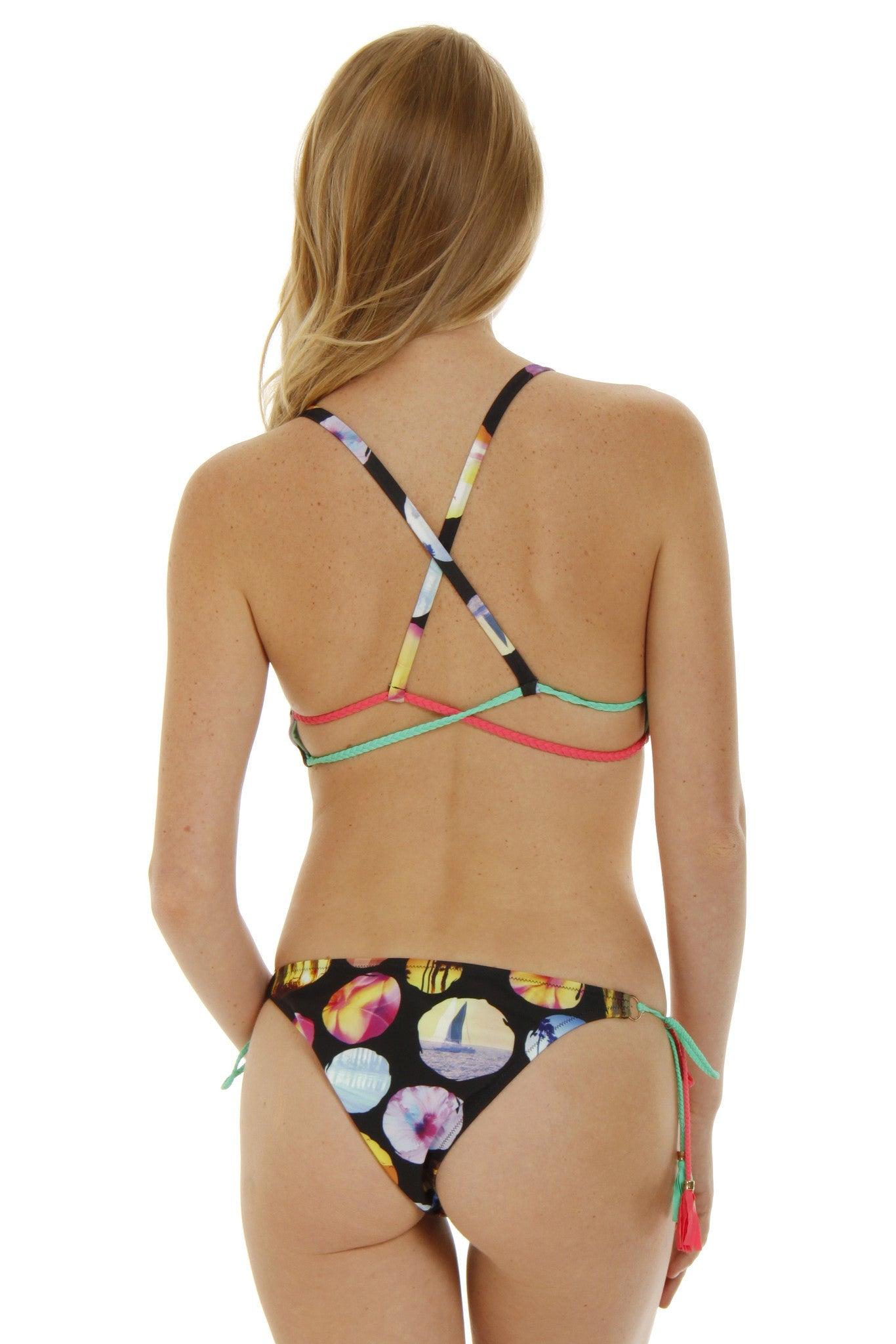 RAISINS Starstruck Scoop Neck Bikini Top - Cali Coast Print Bikini Top | Cali Coast Print| Starstruck Scoop Neck Bikini Top - Cali Coast Print. Back View. Crossed Straps in the back for pull over wear. Scoop Neck.