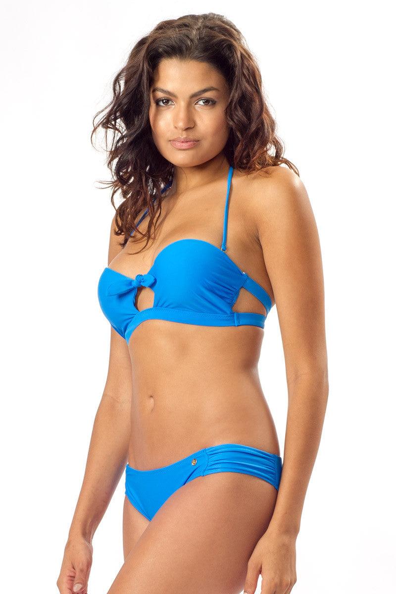 RAISINS Summer Cut Out Bikini Top - Electric Waters Bikini Top | Electric Waters| Summer Cut Out Bandeau Top - Electric Waters. Side View. Cut out front detail. Removable halter strap.