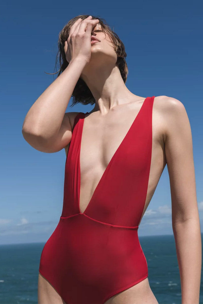 HAIGHT Marina Plunging Convertible Ties One Piece Swimsuit - Cherry Red One Piece | Cherry Red| Haight Marina Plunging Convertible Ties One Piece Swimsuit - Cherry Red   Plunging v neckline  convertible straps  moderate coverage Front View