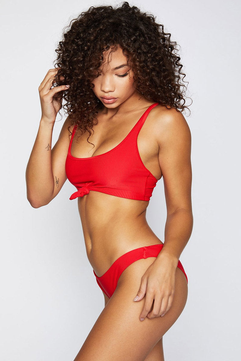 FRANKIES BIKINIS Ribbed Greer Top - Red Bikini Top | Red|