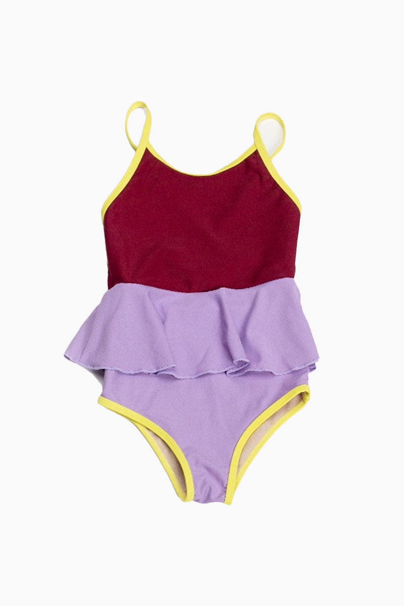 MOTT50 KIDS Mini Federica Color Block Ruffle Skirt One Piece Swimsuit (Kids) - Cordovan Red/Lilac Purple Kids One Piece | Cordovan Red/Lilac Purple| Mott50 Kids Mini Federica Ruffle Skirt One Piece Swimsuit (Kids) - Cordovan Red/Lilac Purple Kids one piece Ruffle skirt detail Front View