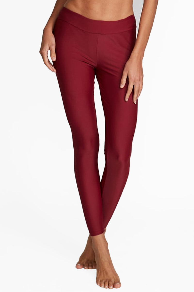 MOTT50 Marissa High Rise Leggings - Maroon Red Pants | Maroon Red| Mott 50 Marissa High Rise Leggings - Maroon Red. Features:  High waisted leggings UPF 50 Nylon/Spandex High-rise waistband Machine Wash/Line Dry Front View