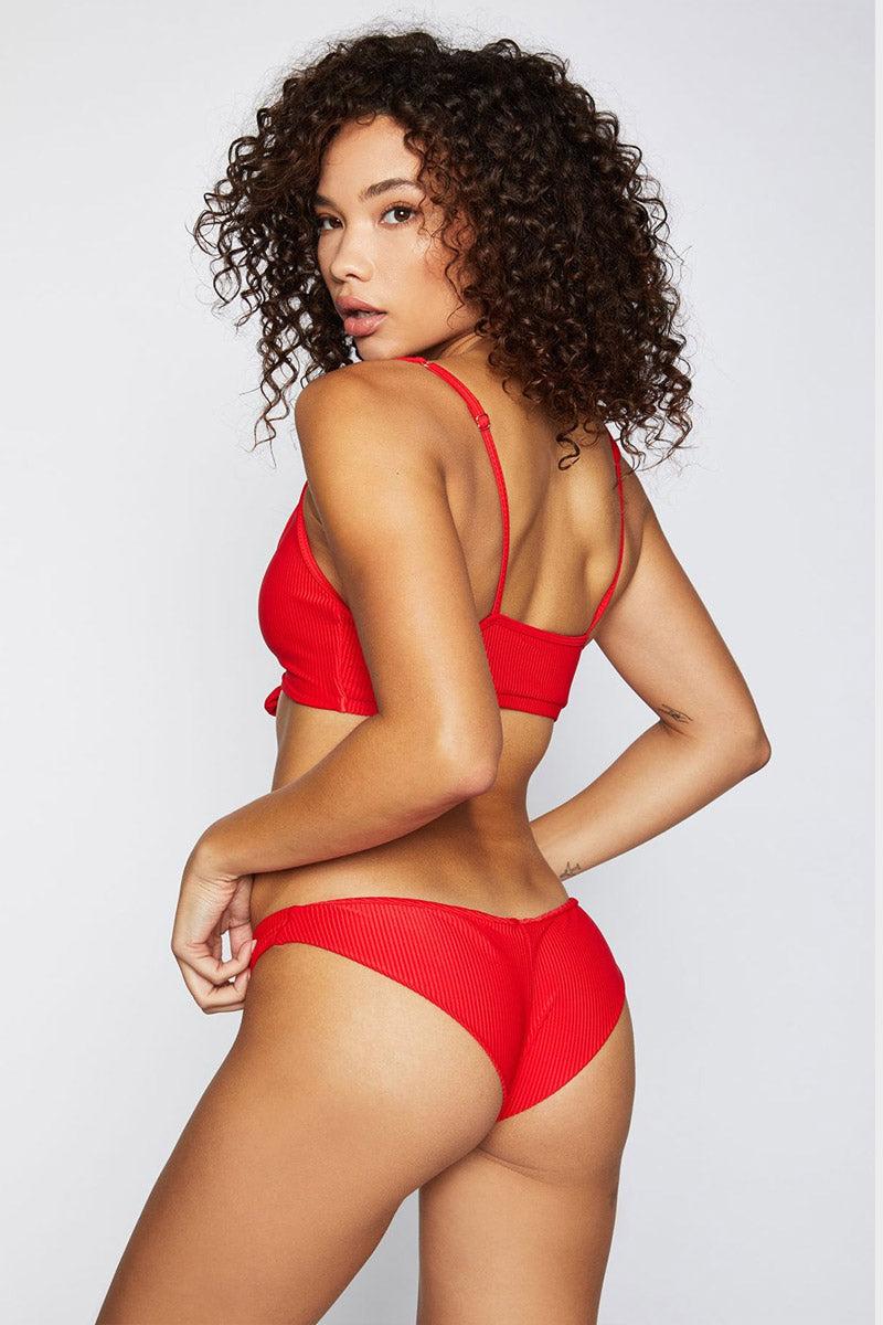3fe05b5316 FRANKIES BIKINIS Greer Ribbed Cheeky Bikini Bottom - Red