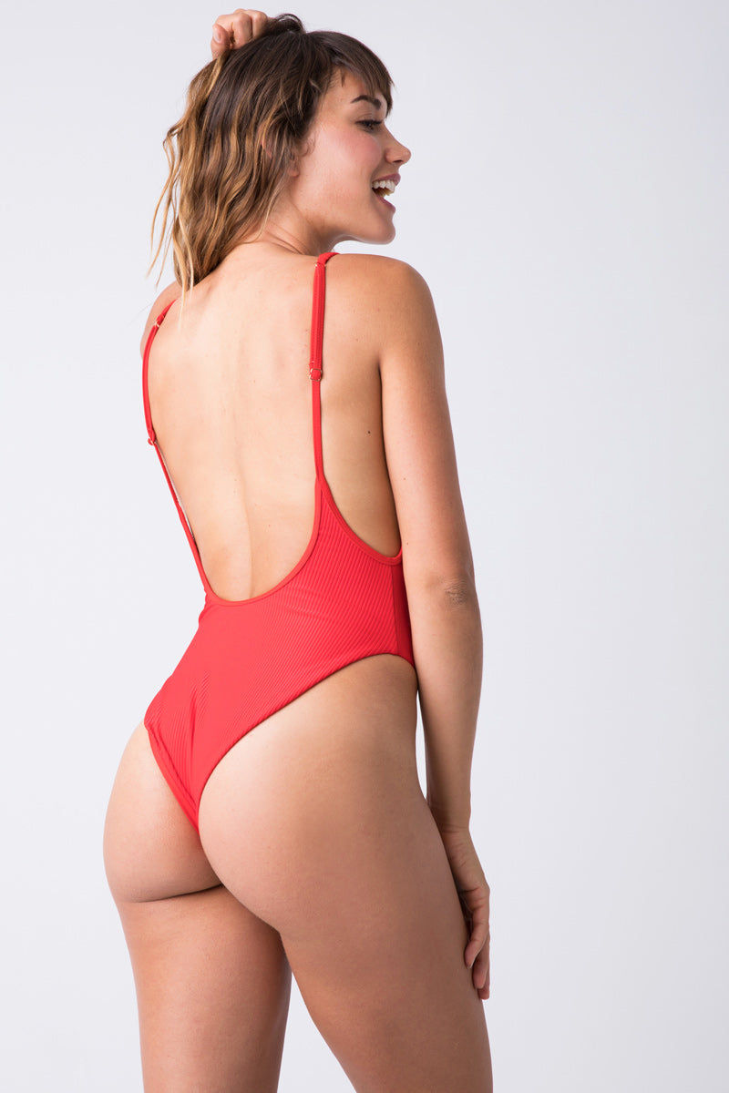 FRANKIES BIKINIS Adele Ribbed Scoop Neck One Piece Swimsuit - Red Hot One Piece | Red Hot| Frankies Bikinis Adel One Piece Red hot henley inspired high cut ribbed one piece swimsuit with a low back scoop and cheeky coverage.