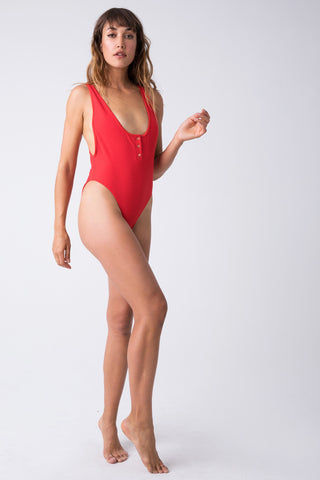 FRANKIES BIKINIS Adele Ribbed Scoop High Cut One Piece Swimsuit - Red Hot One Piece | Red Hot| Frankies Bikinis Adele Ribbed Scoop High Cut One Piece Swimsuit -  Red Hot henley inspired high cut ribbed one piece swimsuit with a low back scoop and cheeky coverage. Front View