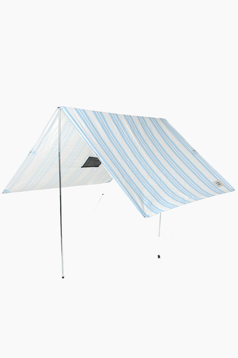 BUSINESS AND PLEASURE CO Holiday Beach Tent - Riviera Stripe Blue Pool Accessories | Riviera Stripe Blue| BUSINESS AND PLEASURE CO Holiday Beach Tent - Riviera Stripe Blue. Features:  UPF 50+ Fabric (98% UV blockout) Printed Cotton/Poly Coated Canvas with UV and Water Resistant treatment. Metal poles. Aluminium Fittings and cross bar. Includes 6 stake/pegs, guide poles for easy setup, instructions and warranty card. Fabric Dimensions: 6' x 9' When Open: 6' H, 6' W, 6' D (roughly) Front View