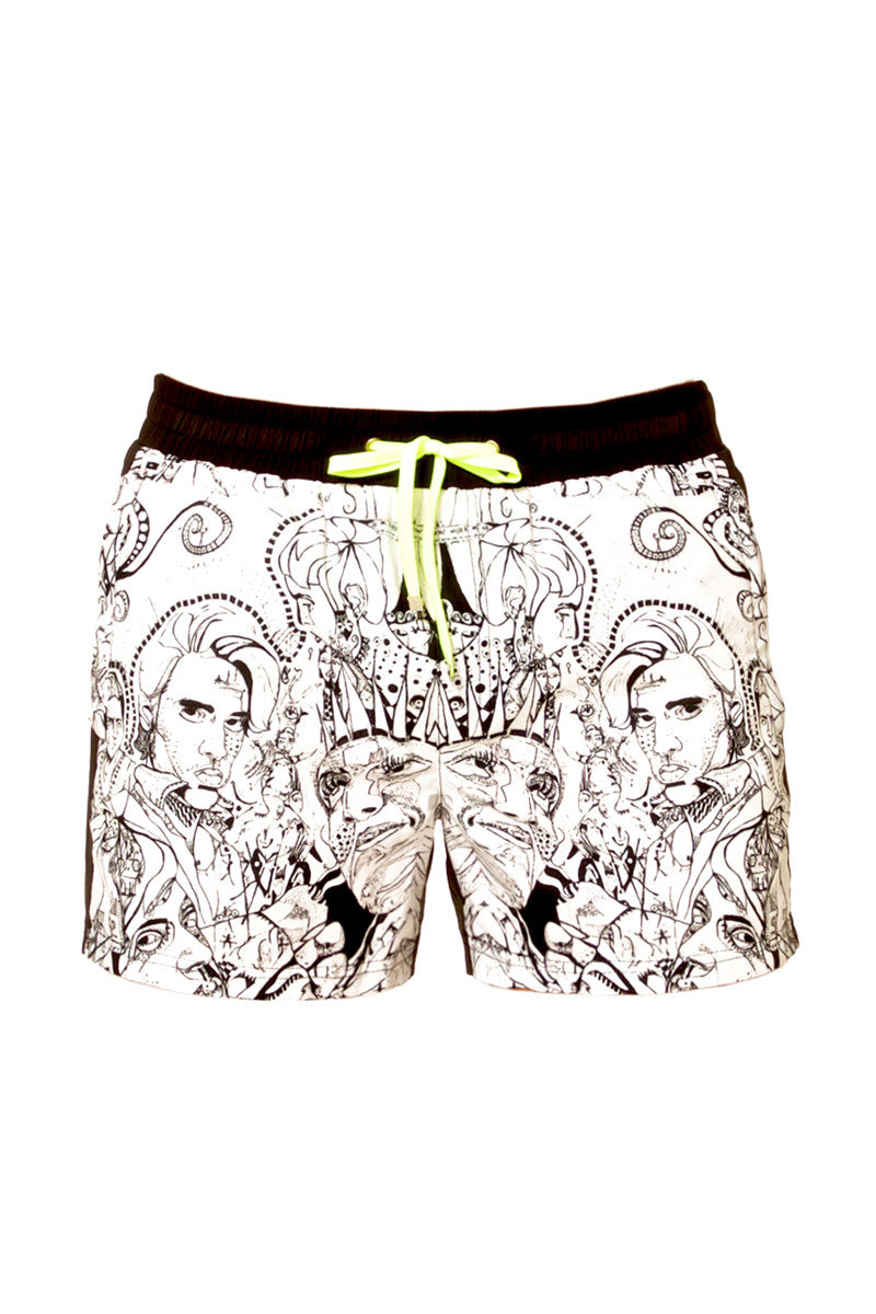 "J.LIN Runner Square Cut Swim Trunks - Graffiti Ink Print Mens Swim | Graffiti Ink Print| J.Lin Runner Square Cut Swim Trunks - Graffiti Ink Print. Flat Lay Front View. Shorter-length  Printed front panel  Two front forward seam pockets Back snap-fastening flap pocket  Elastic waistband  Drawstring with white mesh lining  Loose fit leg opening  100% Polyester  Model wears a M. Model measures 34"", height 6'1""/185cm"