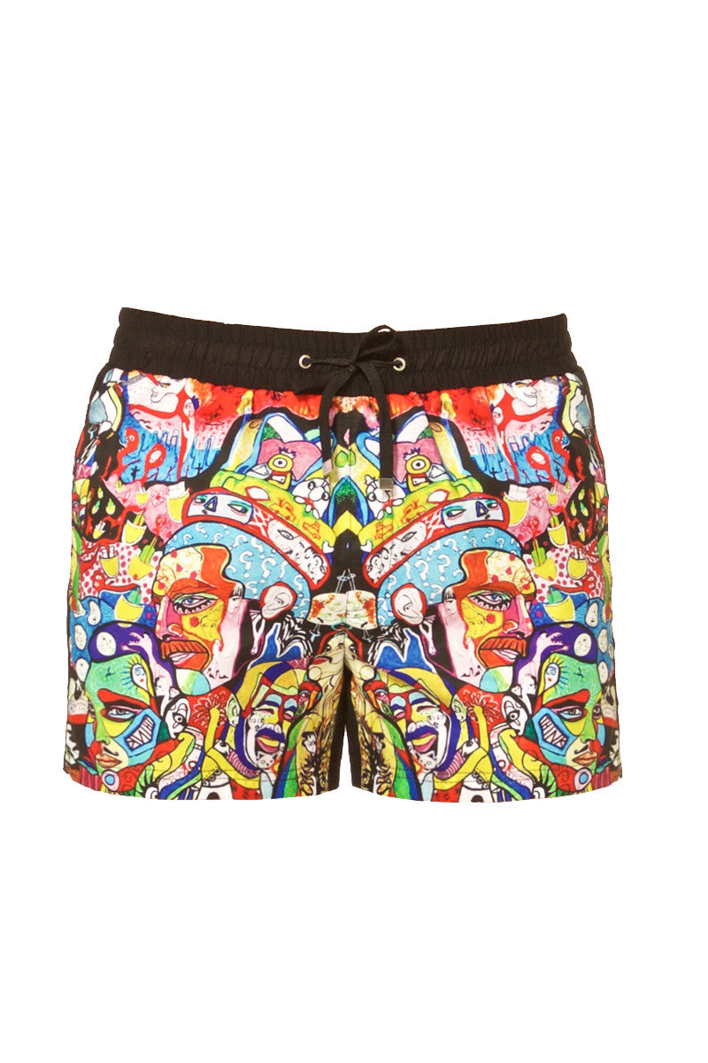 "J.LIN Runner Square Cut Swim Trunks - Graffiti Multicolor Print Mens Swim | Graffiti Multicolor Print| J. Lin Runner Square Cut Swim Trunks - Graffiti Multi Color. Flat Lay View. Shorter-length  Printed front panel  Two front forward seam pockets Back snap-fastening flap pocket  Elastic waistband  Drawstring with white mesh lining  Loose fit leg opening  100% Polyester  Model wears a M. Model measures 34"", height 6'1""/185cm."