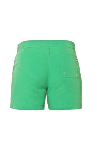 J.LIN Sailor Mid Length Swim Trunks - Crisp Green Mens Swim | Crisp Green| J. Lin Sailor Mid Length Swim Trunks - Crisp Green. Flat Lay Back View.  Mid-length  Buckle closure at center front  Forward seam with white pipping Snap front pocket, open back pocket White stretch lining   100% Polyester