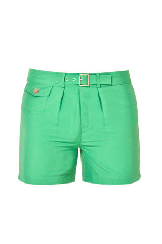 J.LIN Sailor Mid Length Swim Trunks - Crisp Green Mens Swim | Crisp Green| J. Lin Sailor Mid Length Swim Trunks - Crisp Green. Flat Lay Front View.  Mid-length  Buckle closure at center front  Forward seam with white pipping Snap front pocket, open back pocket White stretch lining   100% Polyester