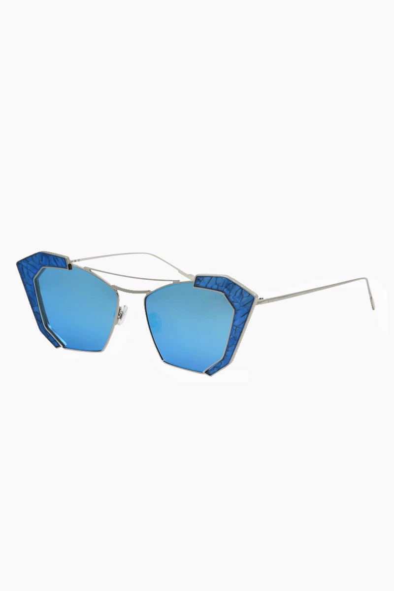 I-SEA Salty Arrow Sunglasses - Silver/Blue Sunglasses | Silver/Blue| I-Sea Salty Arrow Sunglasses - Silver/Blue Cat-Eyed Under Cut Sunglasses Frame Color: Silver Lens Color: Blue   100% UV / UVB Protection Side View