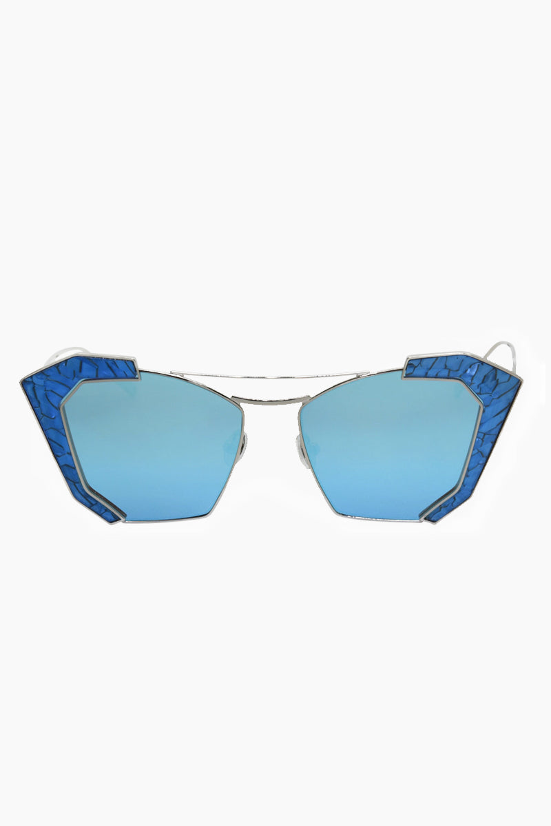 I-SEA Salty Arrow Sunglasses - Silver/Blue Sunglasses | Silver/Blue| I-Sea Salty Arrow Sunglasses - Silver/Blue Cat-Eyed Under Cut Sunglasses Frame Color: Silver Lens Color: Blue   100% UV / UVB Protection Front View
