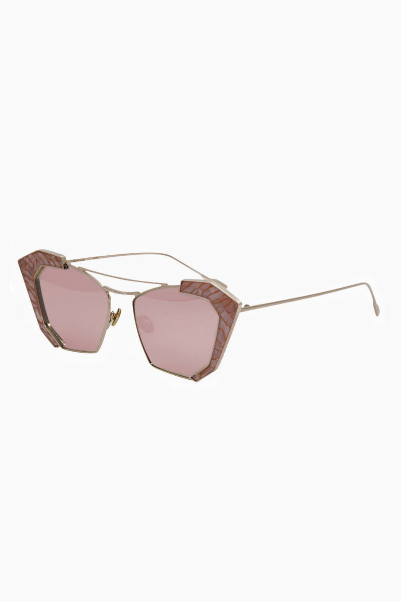 I-SEA Salty Arrow Sunglasses - Rose Gold/Milky Pink Sunglasses | Rose Gold/Milky Pink| I-Sea Salty Arrow Sunglasses - Rose Gold/Milky Pink Cat-Eyed Under Cut Sunglasses Frame Color: Rose Gold Lens Color: Milky Pink   100% UV / UVB Protection Front View