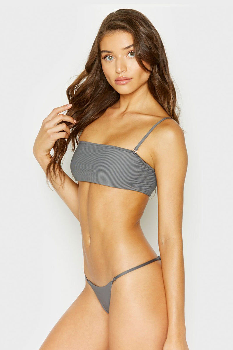 FRANKIES BIKINIS Sara Ribbed Thong Bikini Bottom - Caviar Grey Bikini Bottom | Caviar Grey| Frankies Bikinis Sara Ribbed Thong Bikini Bottom - Caviar Grey Low rise Thin side straps  Thong coverage  Side View