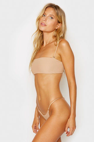 FRANKIES BIKINIS Scarlett Ribbed Bandeau Bikini Top - Nude Bikini Top | Nude| Frankies Bikinis Scarlett Ribbed Bandeau Bikini Top - Nude Bandeau style  Removable adjustable shoulder straps  Ribbed fabric Side View