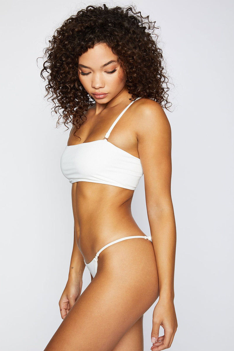 FRANKIES BIKINIS Sara Ribbed Thong Bikini Bottom - White Bikini Bottom | White| Frankies Bikinis Sara Ribbed Thong Bikini Bottom - White Low rise Thin side straps  Thong coverage  Side View