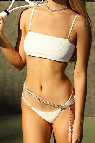 FRANKIES BIKINIS Sara Ribbed Thong Bikini Bottom - White Bikini Bottom | White| Frankies Bikinis Sara Ribbed Thong Bikini Bottom - White Low rise Thin side straps  Thong coverage  Front View
