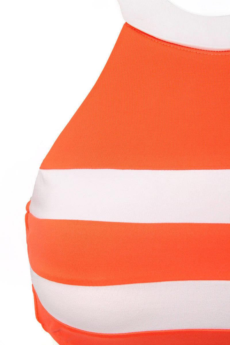 SEAFOLLY Block Party High Neck Bi-Color Bikini Top - Nectarine/White Bikini Top | Nectarine|