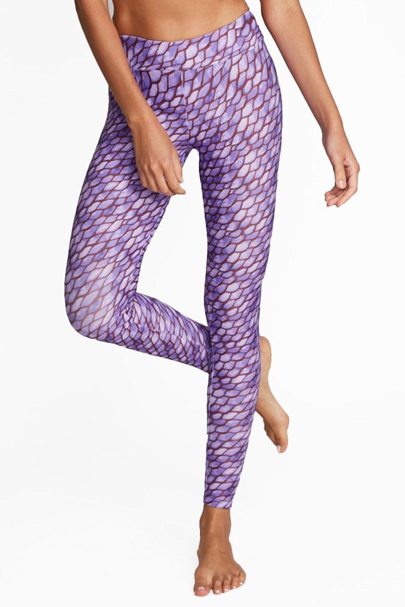 MOTT50 Marissa High Rise Leggings - Second Skin Purple Print Pants | Second Skin Purple Print| Mott 50 Marissa High Rise Leggings - Second Skin Purple Print. Features:  High-rise leggings UPF 50 Nylon/Spandex High-rise waistband Machine Wash/Line Dry Front View