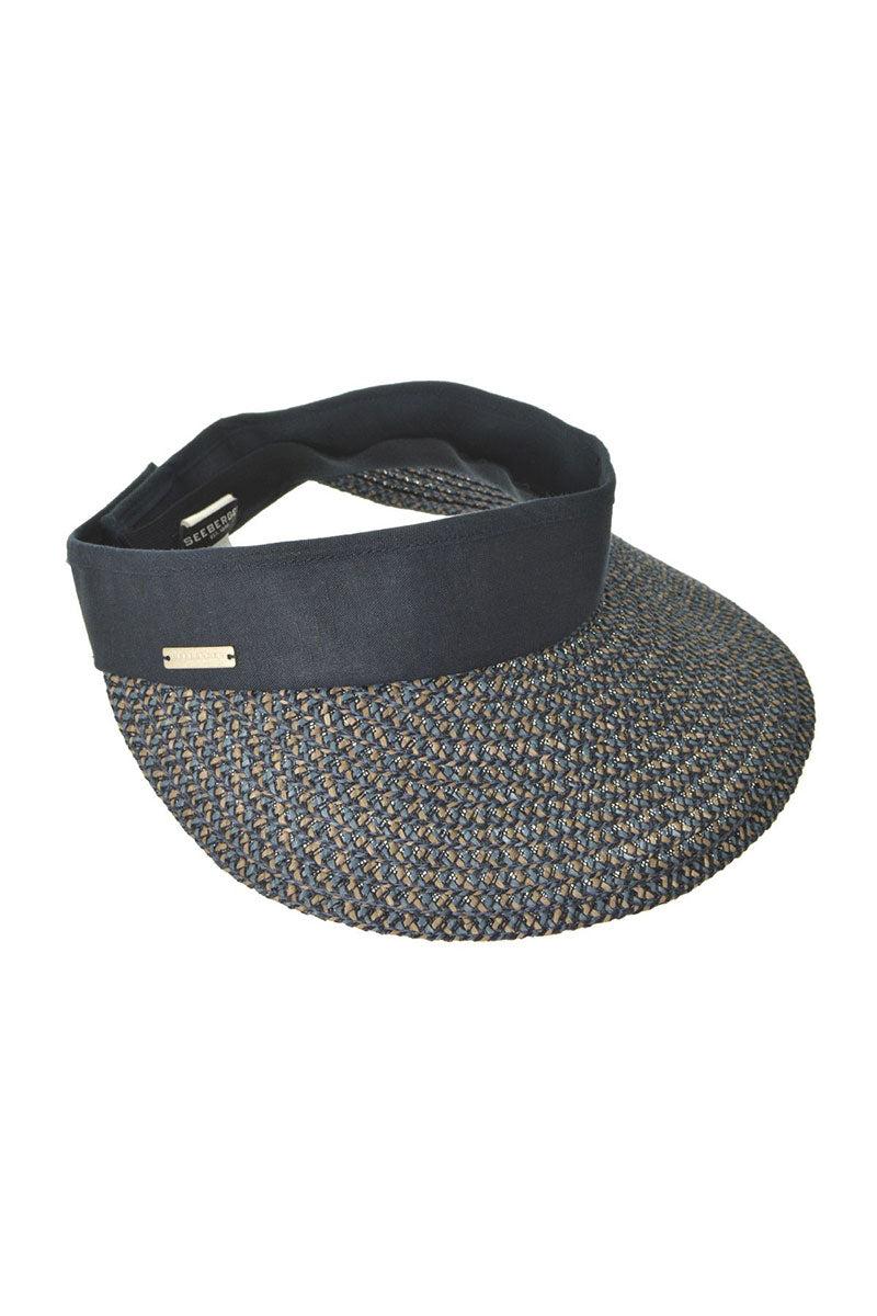 SEEBERGER Visor In Multi Braid - Jeans Blue/Taupe Hat | Jeans Blue/Taupe|Visor In Multi Braid - Features:  Sun visor Dark navy color Elastic band at back
