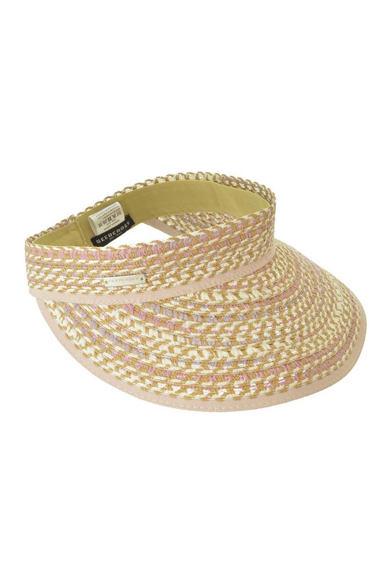 SEEBERGER Visor In Multi Braid - Natural Straw Hat | Natural Straw|Visor In Multi Braid - Features:  Sun visor Multi color tan straw stretch sweatband Multi color braid Elastic band at back