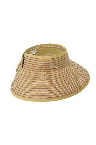 SEEBERGER Visor With Big Brim - Natural Straw Hat | Natural Straw|Visor W/Big Brim - Features:  Sun visor Tan color Elastic band Velcro colusre One size