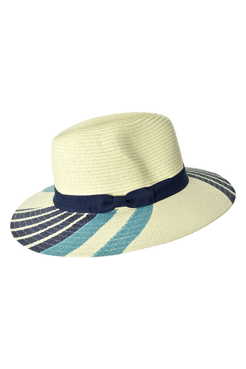 SEEBERGER Fedora - Blue Stripe Hat | Blue Stripe|Fedora - Features:  Summer Fedora Blue stripe pattern