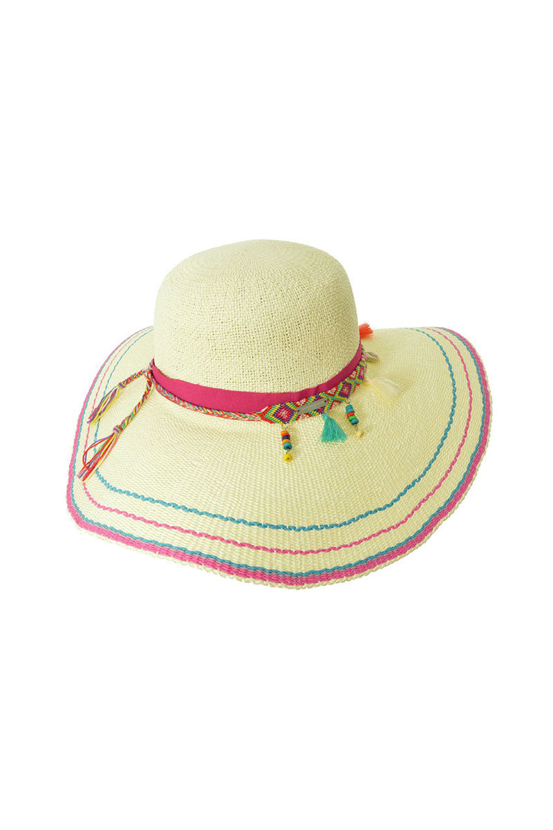SEEBERGER Floppy Hat - Natural Straw Hat   Natural Straw Floppy Hat - Features:  Summer Hat Tassel details