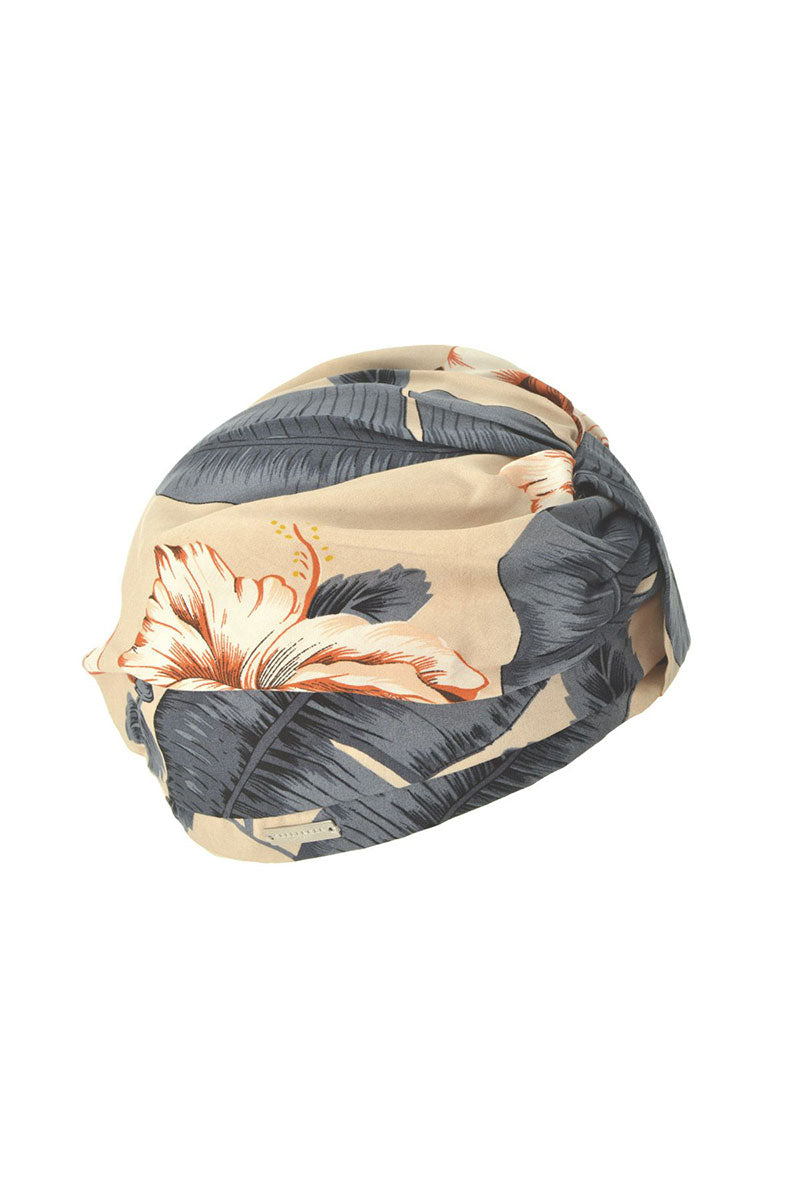 SEEBERGER Turban - Sand/Jeans Blue Hair Accessories   Sand/Jeans Blue Turban - Features:  Floral print turban 100percent cotton One size