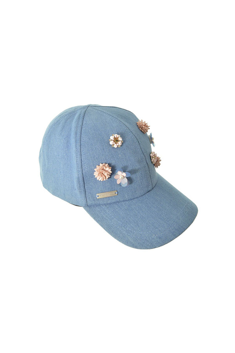 SEEBERGER Baseball Cap In Denim - Blue Denim Hat | Blue Denim|Baseball Cap In Denim - Features:  Denim base ball cap Pink Floral embellishment at front of cap One size