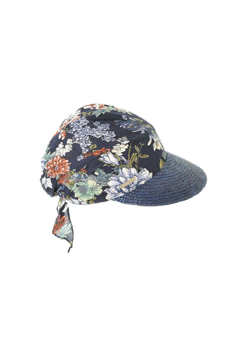 SEEBERGER Cap In Straw Braid - Taupe/Marine Blue Hat | Taupe/ Marine Blue|Cap In Straw Braid - Floral print bandana cap