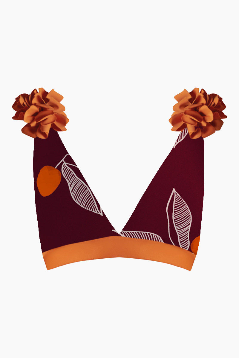 JUAN DE DIOS Nuqui Reversible Deep V Neck Bikini Top - Dark Orange/Maroon Bikini Top |  Dark Orange/Maroon| Juan De Dios Nuqui Deep V Neck Reversible Bikini Top - Dark Orange/Maroon. Features:  Deep v neck cut Open back Reversible bikini top Back hook closure Removable flowers on the shoulders Front View