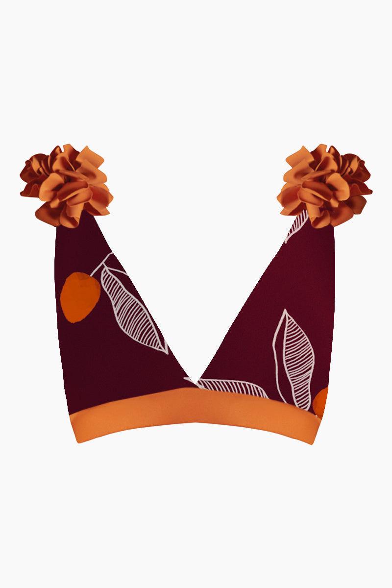 JUAN DE DIOS Nuqui Reversible Deep V Neck Bikini Top - Dark Orange/Maroon Bikini Top |  Dark Orange/Maroon| Juan De Dios Nuqui Deep V Neck Reversible Bikini Top - Dark Orange/Maroon. Features:  Deep v neck cut Open back Reversible bikini top Back hook closure Removable flowers on the shoulders Front View