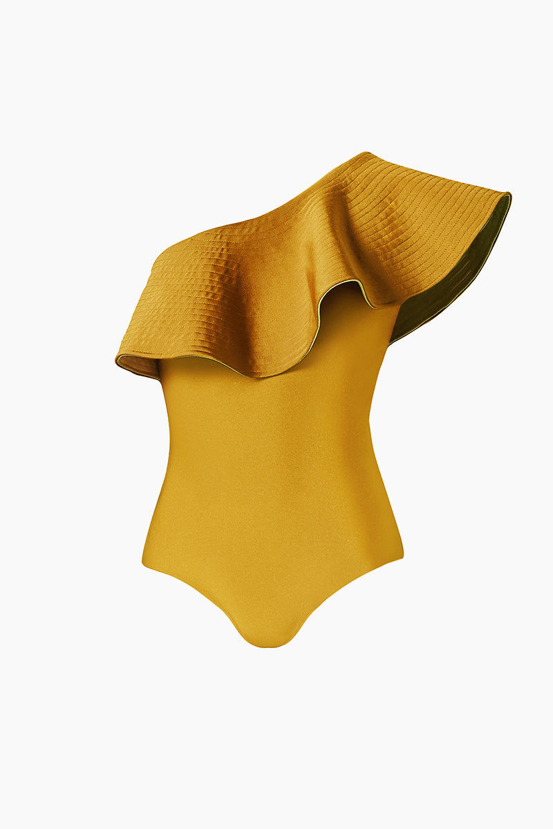 JUAN DE DIOS Tucan Reversible Ruffle One Shoulder One Piece Swimsuit - Mustard/Green One Piece |  Mustard/Green| JUAN DE DIOS Tucan Reversible Ruffle One Shoulder One Piece Swimsuit - Dark Mustard/Green. Features:  One shoulder one piece swimsuit Statement ruffles Reversible between Dark orange and Maroon Perfect for the beach and night out Reverse View