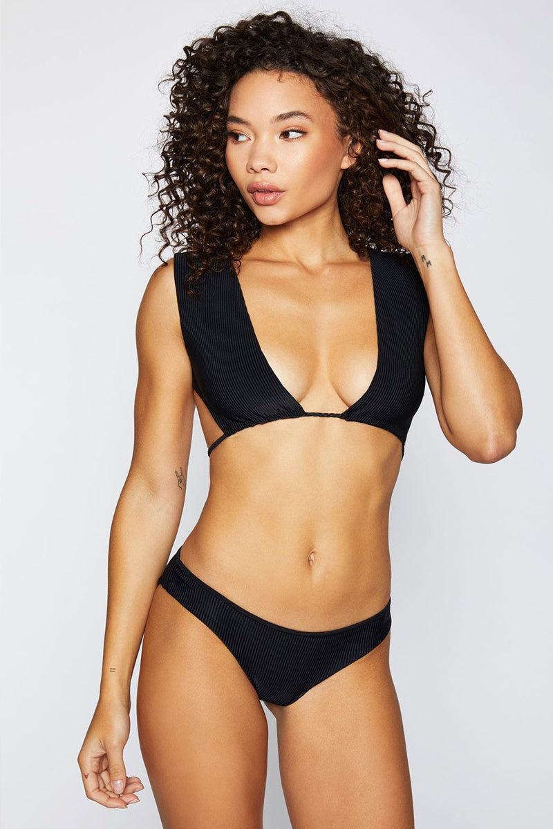 FRANKIES BIKINIS Shea Ribbed Moderate Bikini Bottom - Black Bikini Bottom   Black  Frankies Bikinis Shea Moderate Bikini Bottom - Black Hipster style Moderate coverage  Ribbed fabric  Front View